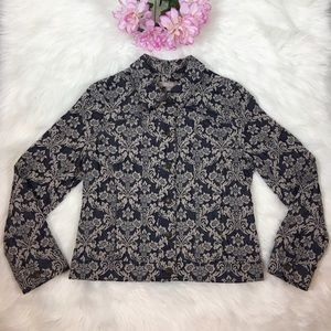 Chicos Floral Tapestry Silver Celtic Button Jacket